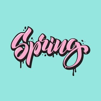 Wiosna. napis w stylu graffiti. ręcznie rysowane kaligrafii