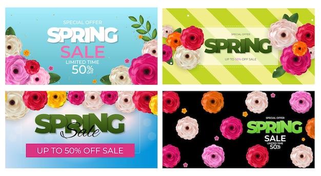 Wiosna naturalna oferta specjalna sprzedaż tło zestaw plakat kwiaty i liście szablon.