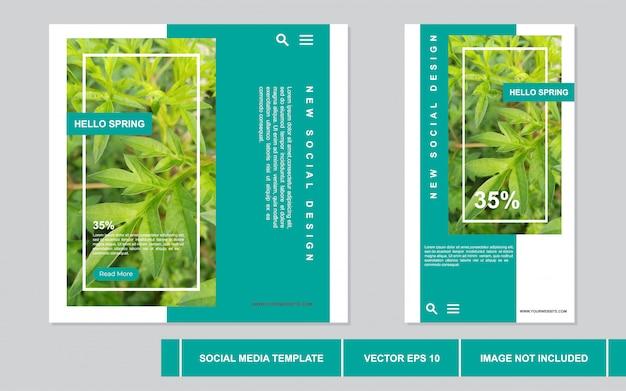Wiosna nowoczesna koncepcja kolekcja postów w mediach społecznościowych