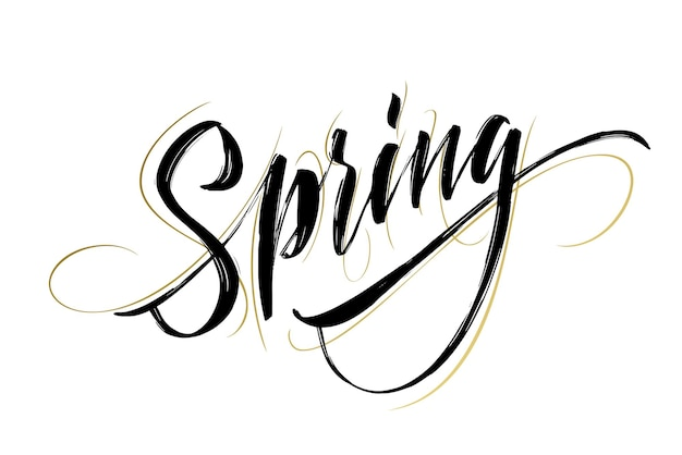 Wiosna odręczny napis. piękna nowoczesna kaligrafia. na białym tle na łatwy w użyciu. ilustracja