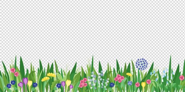 Wiosna ogród trawa i kwiaty granicy. tło wektor kreskówka kwiat. zielone elementy obiektów