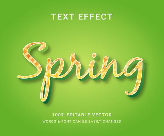 Wiosna pełny edytowalny efekt tekstowy