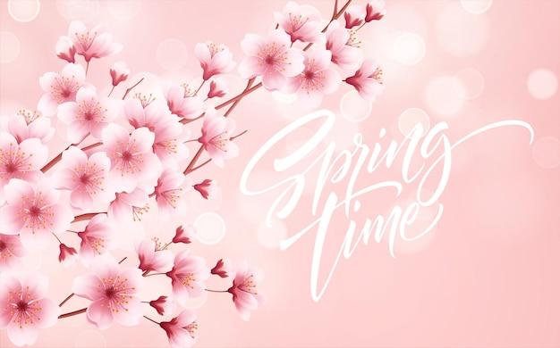 Wiosną Piękne Tło Z Kwitnących Wiosennych Kwiatów Wiśni. Gałąź Sakury Z Latającymi Płatkami. Ilustracja Wektorowa Eps10 Premium Wektorów