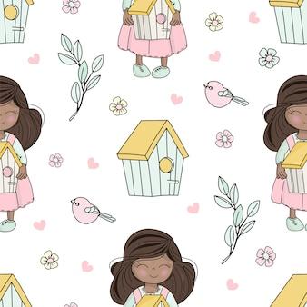 Wiosna pogoda bloom vector illustration seamless pattern