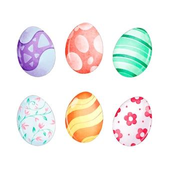 Wiosna projekt na wielkanoc jaja kolekcja akwarela