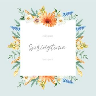 Wiosna rama reklama świeżych kwiatów, promowanie, karta wystrój z kolorowy kwiatowy ogród, ślub, zaproszenie