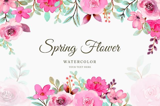Wiosna różowy kwiat tło z akwarelą