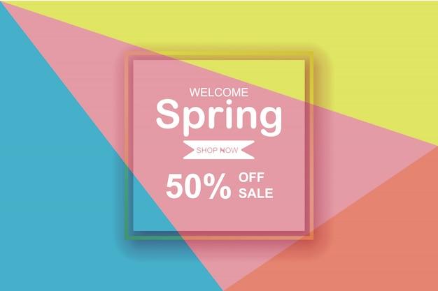 Wiosna sezonu sprzedaży tło z piękny kolorowym.
