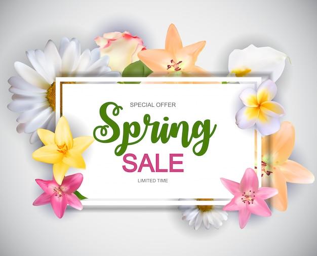 Wiosna sprzedaż ładny transparent z kwiatami