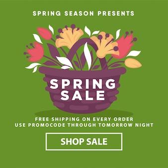 Wiosną sprzedaż plakat sklep internetowy szablon