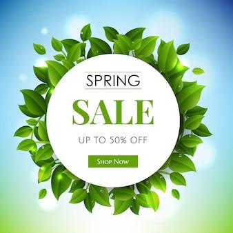 Wiosna sprzedaż transparent z zielonymi gałęziami