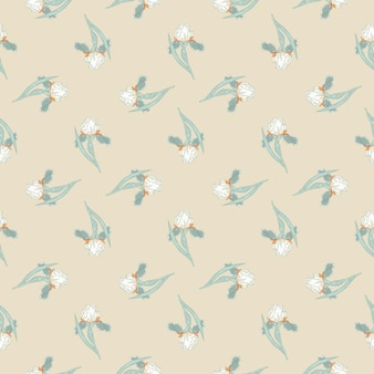 Wiosna styl wzór z małymi niebieskimi tęczówkami kwiaty ornamentem. jasnobeżowe tło. ilustracja wektorowa do sezonowych wydruków tekstylnych, tkanin, banerów, teł i tapet.