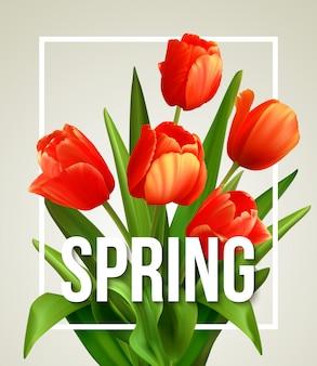 Wiosna tekst z tulipanowym kwiatem.