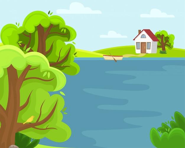 Wiosna wiejski krajobraz z jeziorem. słoneczny letni dzień.