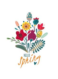 Wiosna wielkanocny plakat z kwiatami i kwiatami w postaci jaj