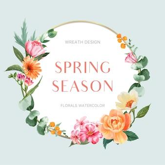Wiosna wieniec rama świeżych kwiatów, karta wystrój z kolorowy kwiatowy ogród, ślub, zaproszenie