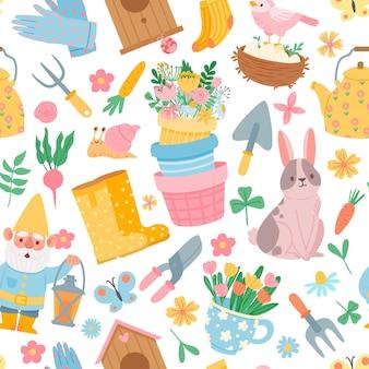 Wiosna wzór. elementy narzędzi ogrodowych, doniczki z kwiatami, warzywami, królikiem, gnomem i domkiem dla ptaków. ładny ogrodnictwo płaski wektor wydruku. tło wiosna wzór ogrodniczy
