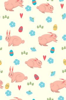 Wiosna wzór z króliczkami.