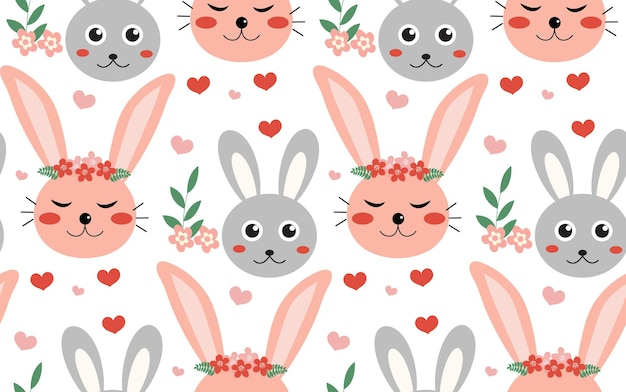 Wiosna wzór z królików i roślin. wzór wielkanocny. króliczki z kreskówek.