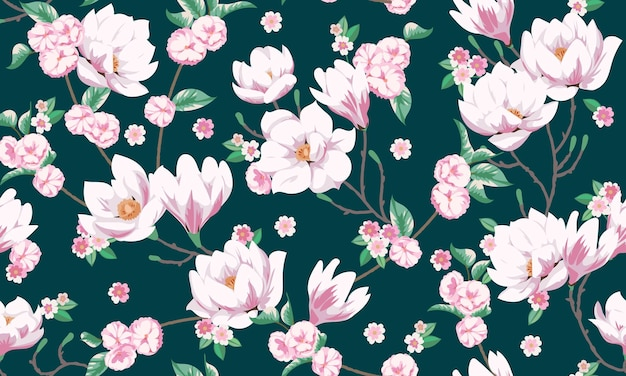 Wiosna wzór z magnoliami. projekt tkaniny na elegancką letnią sukienkę