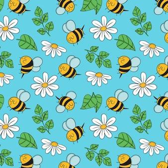 Wiosna wzór z pszczołami w stylu rysowania dłoni
