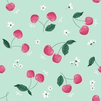 Wiosna wzór z wiśni i kwiat.