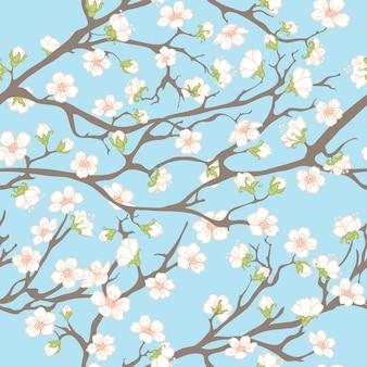 Wiosna z gałęziami i kwiatami.