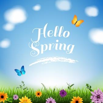 Wiosna z trawą i kwiatami z motylem
