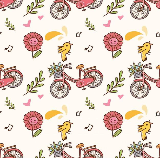 Wiosny bezszwowy tło z bicyklem, kwiatem i śpiewackim ptakiem