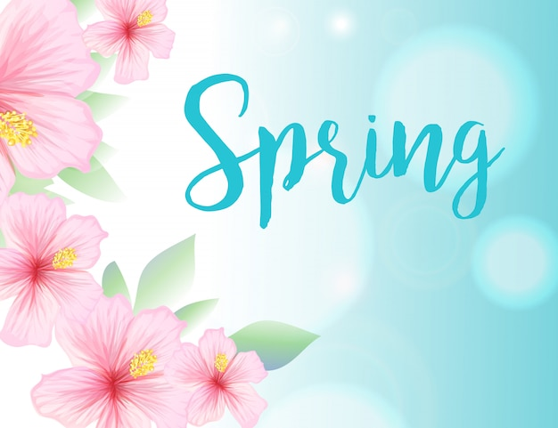 Wiosny ilustracja z niebieskiego nieba i poślubnika kwiatami
