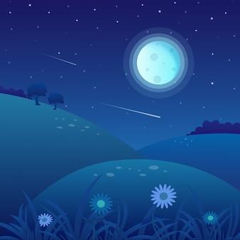 Wiosny krajobrazowy tło na nocy z księżyc w pełni i gwiaździstym niebem