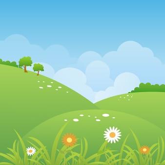 Wiosny krajobrazowy tło z chmurami i zieloną łąką.