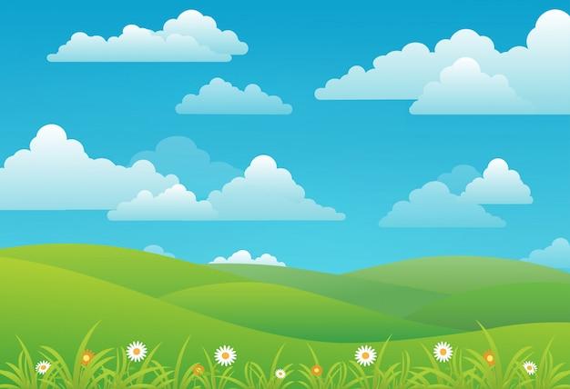 Wiosny krajobrazowy tło z chmurami, kwiatami i zieloną łąką ,.