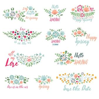 Wiosny kwiatu odznaki projekta wektoru typograficzna ilustracja.