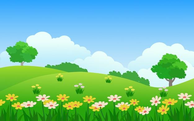 Wiosny lanscape z kolorowymi kwiatami w zieleń parku