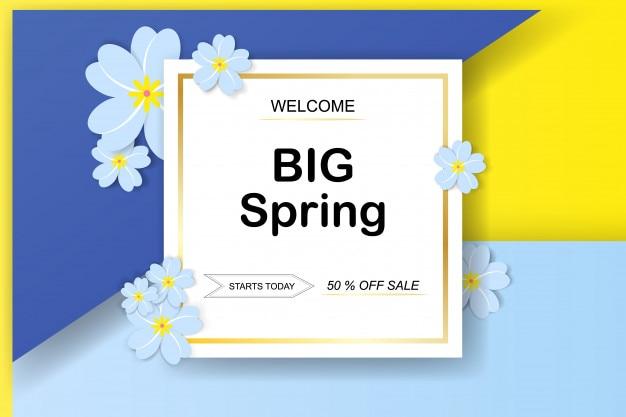 Wiosny sprzedaży tło z pięknym kolorowym kwiatem