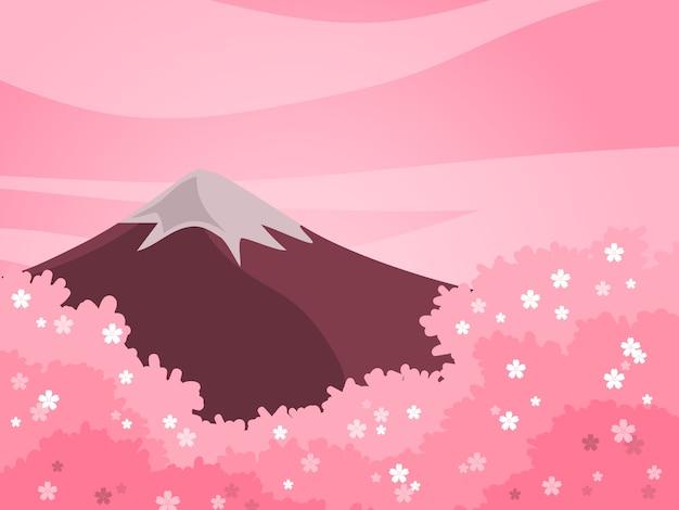 Wiosny wiśni i góry tło