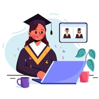 Wirtualna ceremonia ukończenia szkoły z absolwentem uniwersytetu