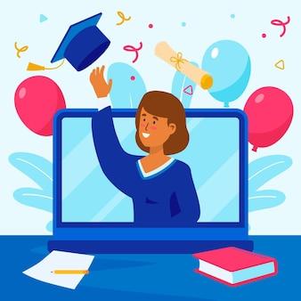 Wirtualna ceremonia ukończenia szkoły z laptopem i balonami
