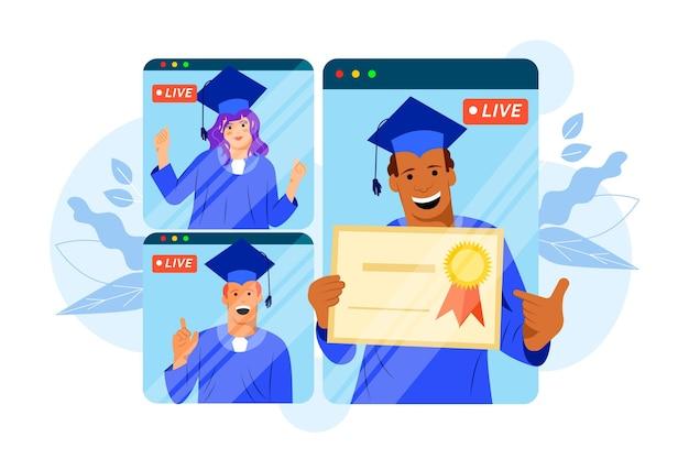 Wirtualna Ceremonia Ukończenia Szkoły Z Telefonem Darmowych Wektorów