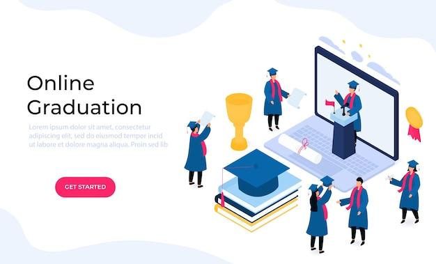 Wirtualna ceremonia wręczenia dyplomów online. maleńcy absolwenci izometryczny w fartuchach i tablicach zaprawowych świętują ukończenie studiów. klasa 2021.