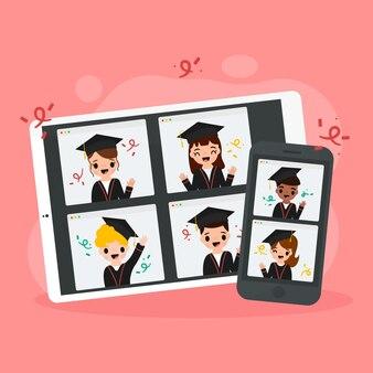 Wirtualna ceremonia wręczenia dyplomów zilustrowana