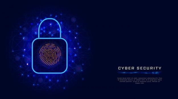 Wirtualna, cyfrowa ochrona danych przez biometryczny skan linii papilarnych. koncepcja bezpieczeństwa cybernetycznego z zamkiem