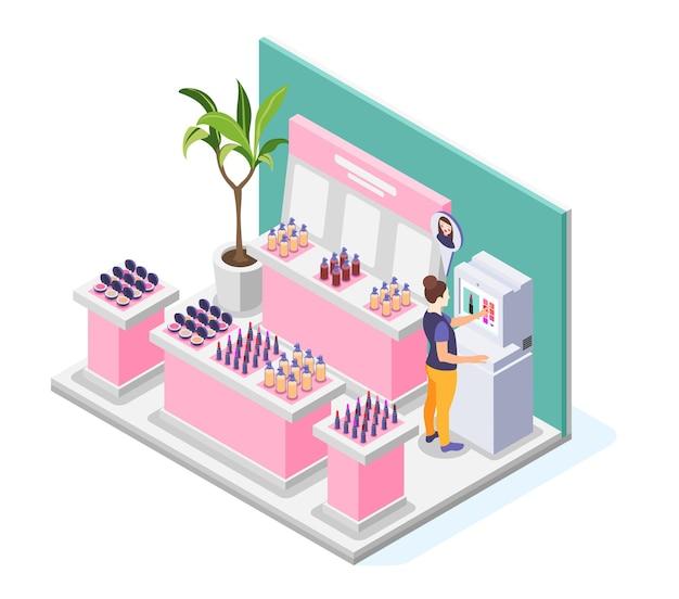 Wirtualna ilustracja makijażu z widokiem na salon kosmetyczny z wyświetlaczami sklepowymi