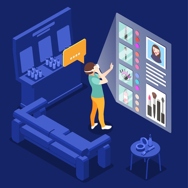 Wirtualna kompozycja makijażu z meblami sklepu z modą i kobietą noszącą szkło vr z interaktywną ilustracją kosmetyków na ekranie