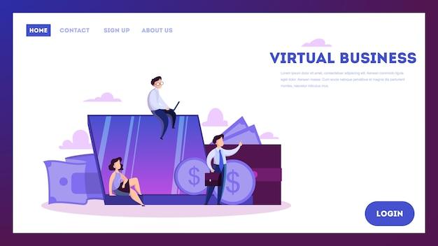 Wirtualna koncepcja biznesowa. nowoczesna technologia i internet