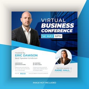 Wirtualna konferencja biznesowa post w mediach społecznościowych