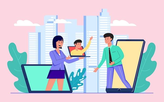 Wirtualna konferencja online z laptopami i smartfonami do komunikacji i omawiania płaskich ilustracji