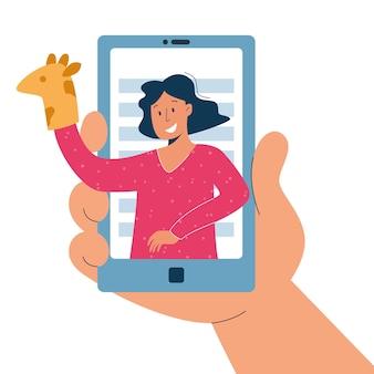 Wirtualna opiekunka, usługa opieki nad dziećmi online, koncepcja zdalnego nauczania.