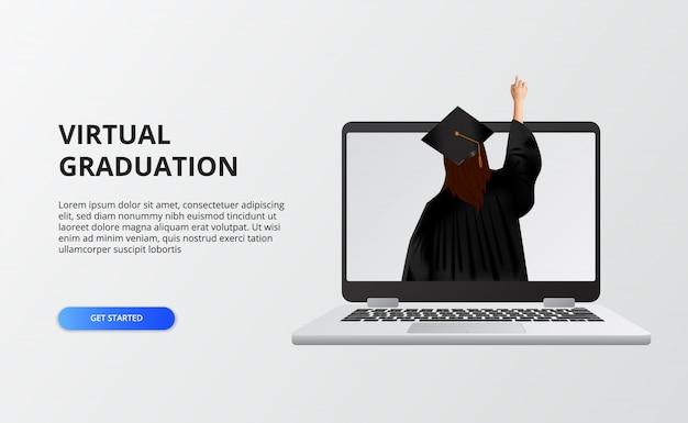 Wirtualna podziałka na czas kwarantanny na covid-19. kobieta używa sukni i czapki ukończenia studiów na studiach na żywo na laptopie.